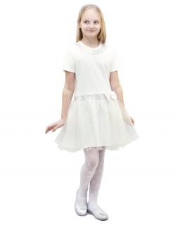 Świetna sukienka 122-158 Amelia kremowy