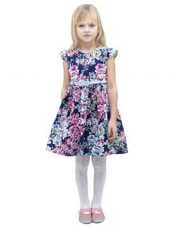 Kwiecista sukienka Paris 116-140 Z paskiem