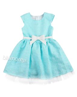Dziewczęca sukienka z kokardą 104-140 Mia błękitna
