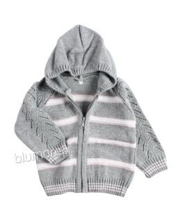 Sweterek z kapturkiem 86-104 NM-443 Szary