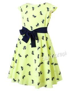 Zwiewna sukienka z motywem kokardek 134-158 Lucyna limonka