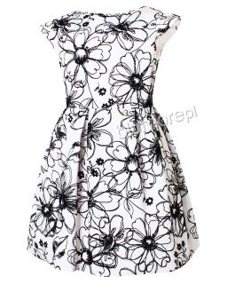 Sukienka z wyhaftowanymi kwiatami 134-158 Tina biel plus czerń