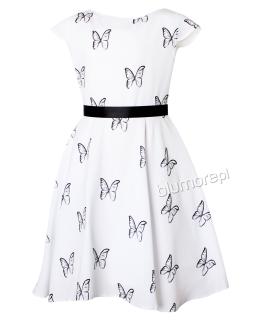 Sukienka ozdobiona motylami 134-158 Carly biel