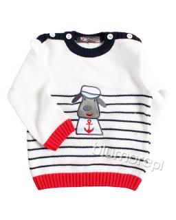 Sweterek z pieskiem 86-104 NM-452 Biały