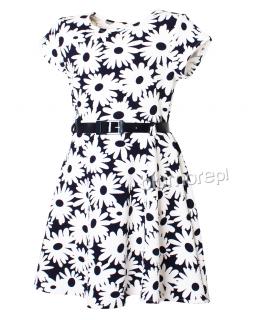 Czarująca kwiecista sukienka 122 - 146 Agnieszka granat plus biel