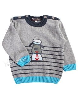 Uroczy sweterek z pieskiem 86-104 NM-452 szary