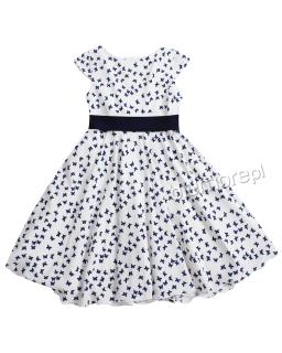 Sukienka w motylki Madlen 128-158 Biały