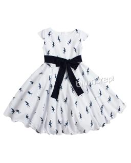 Urokliwa sukienka z ciekawym wzorem 128-158 Nina biały