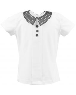 Klasyczna szkolna bluzeczka 116-140 Klara biel plus czerń