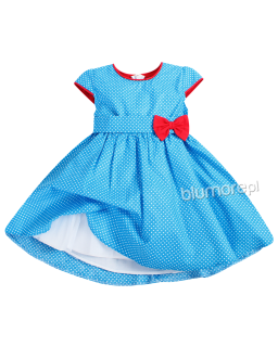 Przeurocza sukienka w grochy 80 - 146 Kasia niebieska