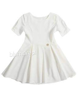 Elegancka sukienka z kokardą na plecach 110-164 Ewa ecru