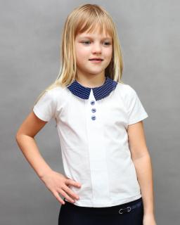 Szkolna bawełniana bluzeczka 116-140 Klara biel plus granat
