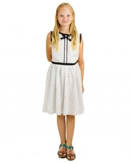 Zwiewna sukienka w groszki 152-164 Wiola biały