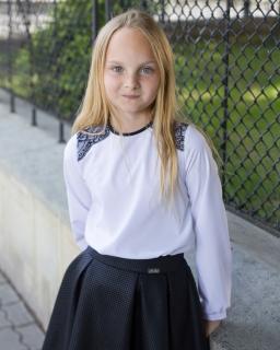 Szykowna bluzka z długim rękawem 122-164 Livia biel plus czarny