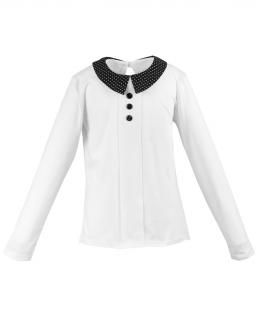 Bluzka z modnym kołnierzykiem w groszki 116-140 Klara biel plus czerń