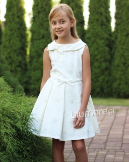 Gustowna sukienka z wytłaczanym wzorem 134-158 Awa ecru
