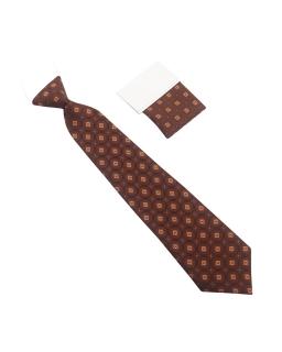 Stonowany chłopięcy krawat 29 cm brązowy