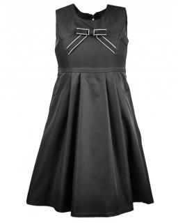 Szykowna sukienka z kokardką 122-140 Oriena czarny
