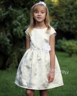 Błyskotliwa sukienka z paskiem 62 - 152 Tacjana 4 złoto plus beż