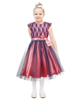 Efektowna sukienka z tiulem 122-152 Wanessa koral plus granat