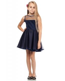 Koktaliowa sukienka z tiulowym dołem 116-140 KI011 ecru i granat