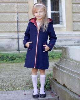 Flauszowy jesienno-zimowy płaszczyk dla dziewczynki 128-158 Lisa granat