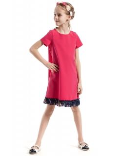 Wystrzałowa sukienka z plisowaną wstawką 98-140 KI033 mix