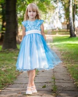 Balowa sukienka z koronką 122-158 Bella Lazurowy