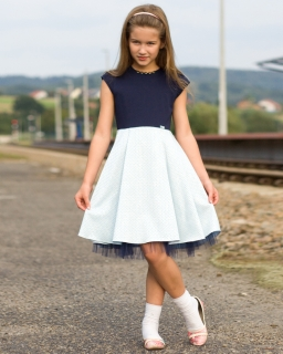 Młodzieżowa sukienka 146-164 Izabela granat plus niebieski