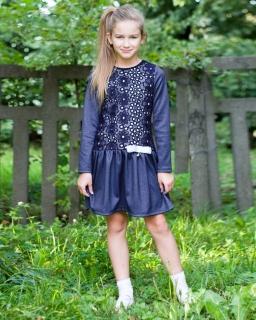 Dzianinowa sukienka w jeansowym kolorze 128-158 Tacjana