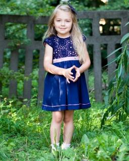 Elegancka sukienka dla najmłodszych dam 86-122 Sylwia granat