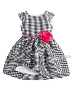 Sukienka w drobną krateczkę 62-140 Brygida czarny plus biały