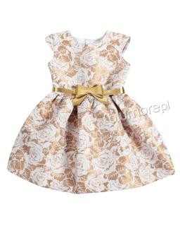 Wyjątkowa sukienka w róże 104-140 Grace złoto plus beż
