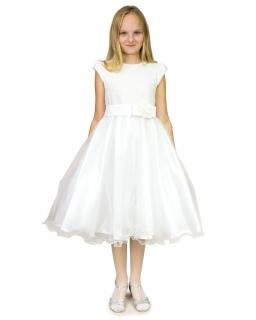 Długa strojna sukienka 122-158 Elisa 2 kremowy