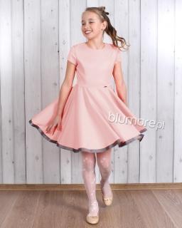 Kapitalna sukienka szyta z koła 158 Oleńka pudrowy róż
