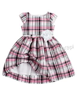 Wyjściowa sukienka w kratkę 110-140 Brygida 4 biel plus róż