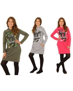 Sukienka z nadrukiem 116-164 KR38 Cztery kolory