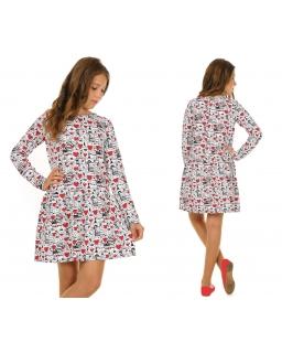 Unikatowa sukienka dla dziewczynki 116-158 KR43 Biel plus czerwień