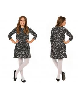Sukienka w kwiatowy wzór 116-158 KR43 Czerń plus biel