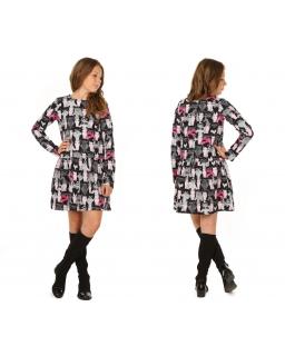 Sukienka w koty 116-158 KR43 Czerń plus róż