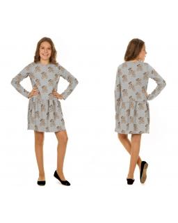 Wygodna sukienka w misie 116-158 KR43 Szary