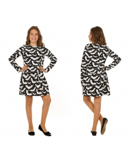 Oryginalna sukienka 116-158 KR43 Czarny plus biały