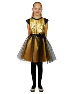 Lśniąca sukienka z tiulem 134-158 Dita złoto