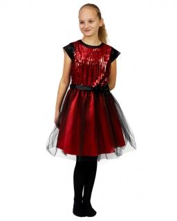 Sukienka z cekinami 134-158 Dita czerwień