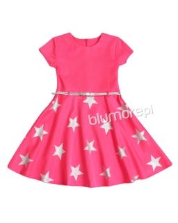 Sukienka w srebrne gwiazdy 122-146 Star neonowy róż