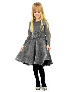 Sylwestrowa sukienka dla dziewczynki 110-134 Ela srebrny