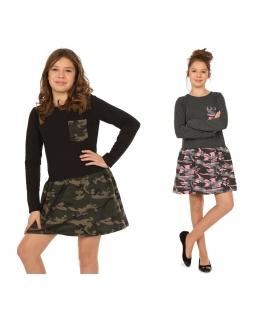 Sukienka w stylu militarnym 128-158 KR60 dwa kolory