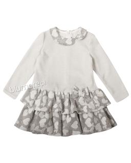 Sukienka z falbankami 92-116 Malwinka szary plus ecru