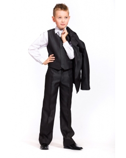 Elegancki czarny komplet kamizelka i spodnie 122-152