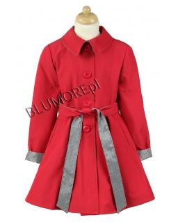 Czerwony wiązany płaszczyk dla dziewczynki 122 - 158
